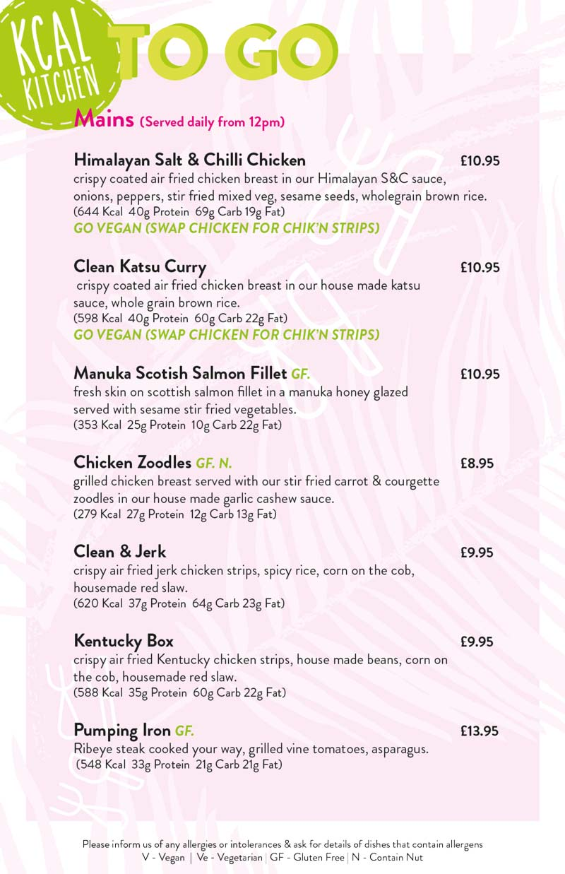 Kcal Kitchen mains menu